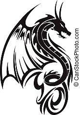 dragon, vendange, voler, tatouage, engraving.