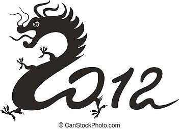 dragon, zodiaque, 2012., chinois, année