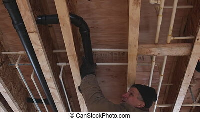 drain, plastique, construction, blanc, plombier, colle, tuyau, monter, sous, nouveau