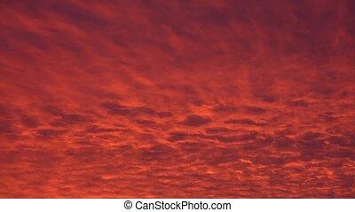 dramatique, coucher soleil, rouges