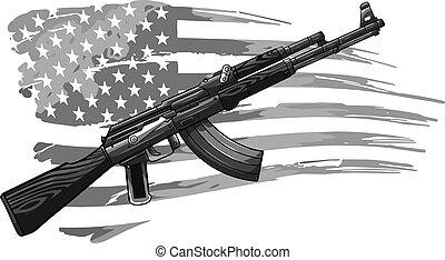 drapeau, ak, 47, usa, fusil, illustration