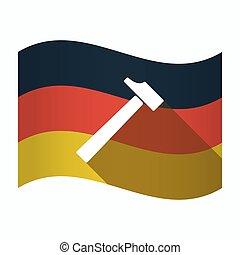drapeau allemagne, marteau, isolé