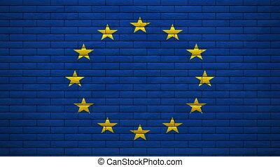 drapeau, alpha, explosion, eu, mur
