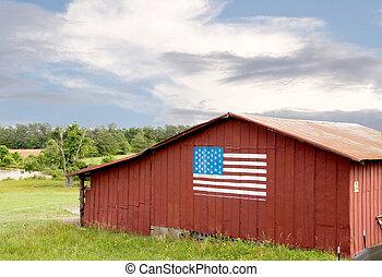 drapeau américain, grange