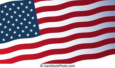 drapeau, amérique, animation, etats unis