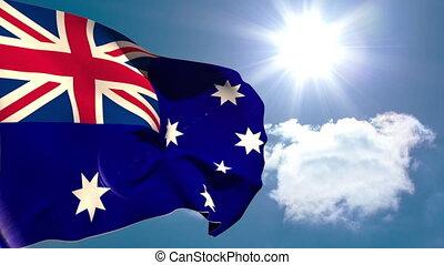 drapeau, australie, national, onduler