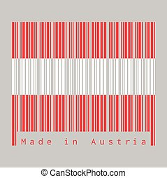 drapeau, autriche, text:, barcode, austria., ensemble, rouges, fait, blanc, couleur
