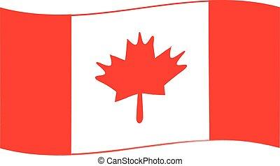 drapeau, blanc, dessiné, fond, canada