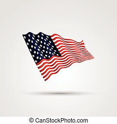 drapeau, blanc, isolé, usa