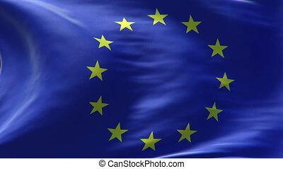 drapeau, boucle, europe, onduler