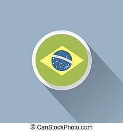 drapeau brésil, bouton, icon.