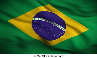 drapeau, brésilien, looped., hd.