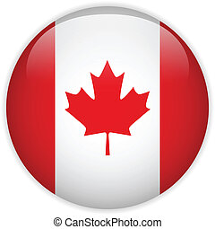 drapeau canada, lustré, bouton