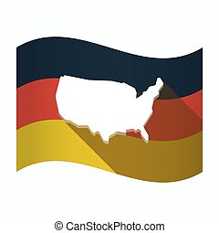 drapeau, carte, allemagne, usa, isolé