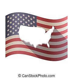 drapeau, carte, usa, isolé
