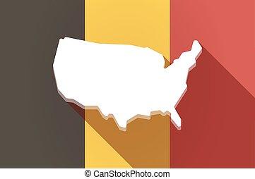 drapeau, carte, usa, long, belgique, ombre