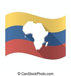 drapeau, carte, venezuela, isolé, continent, africaine