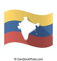 drapeau, carte, venezuela, isolé, inde