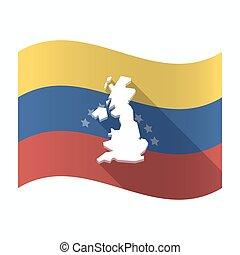 drapeau, carte, venezuela, isolé, royaume-uni