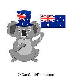 drapeau, chapeau, célébration, australien, koala