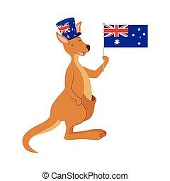 drapeau, chapeau, célébration, kangourou, australien