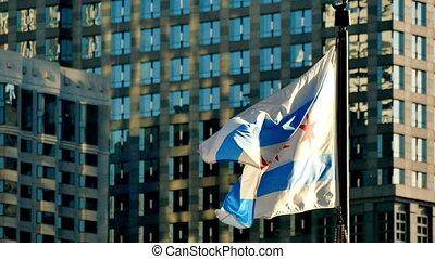 drapeau, chicago, cinematic, coucher soleil, onduler