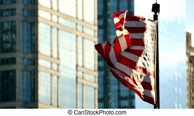 drapeau, chicago, etats, uni, cinematic, coucher soleil, onduler