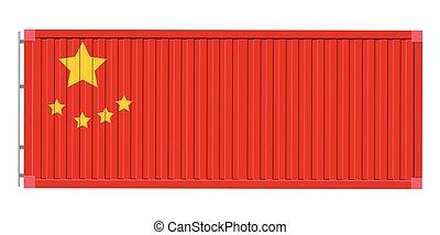 drapeau chine, récipient