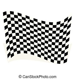 drapeau, course, ombre, isolé, élément, blanc, courses