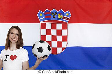 drapeau croatie, football, ventilateur, femme