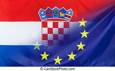 drapeau, croatie, fusionné, européen