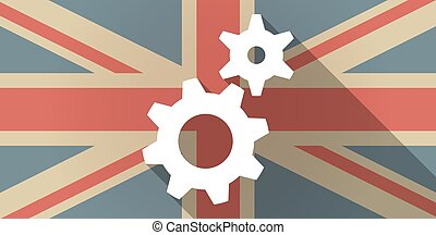 drapeau, engrenages, royaume-uni, icône