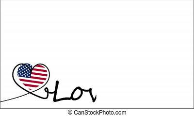 drapeau etats-unis, aimez coeur, style