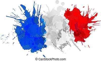 drapeau, fait, francais, coloré, eclabousse
