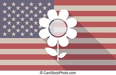 drapeau, fleur, usa, icône
