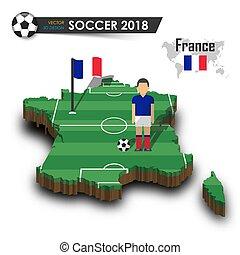drapeau, football, national, france, tournoi, concept, 2018, 3d, mondiale, championnat, pays, joueur, isolé, carte, équipe, vecteur, international, fond, conception, football