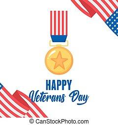drapeau, forces, heureux, or, soldat, médaille, américain, militaire, nous, armé, étoile, jour, vétérans