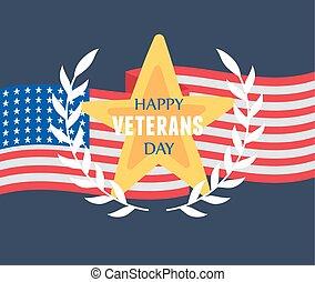 drapeau, forces, heureux, or, soldat, militaire, nous, emblème, étoile, jour, national, armé, vétérans