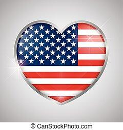 drapeau, forme, usa, coeur, isolé