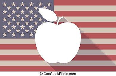 drapeau, fruit, usa, icône
