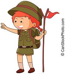 drapeau, girlscout, tenue, uniforme