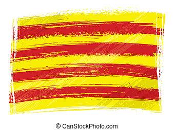 drapeau, grunge, catalogne