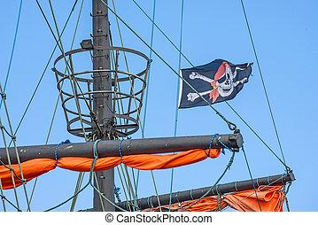 drapeau, historique, bateau, pirate