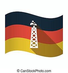 drapeau, huile, allemagne, isolé, tour