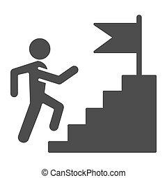 drapeau, icon., métier, toile, style, carrière, pictogramme, piédestal, reussite, sommet, graphics., concurrence, concept, escalade, mobile, solide, blanc, design., vecteur, homme, arrière-plan., escalier, glyph
