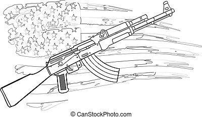 drapeau, illustration, ak, fusil, usa, 47