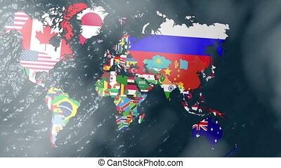 drapeau inde, 3d, nuages, mondiale