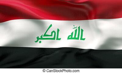 drapeau irak, vent, plissé