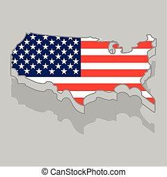 drapeau, isolé, usa, 3d, carte