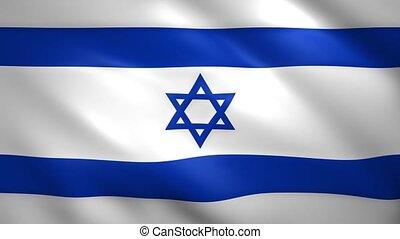 drapeau, israël, vent, mouvements